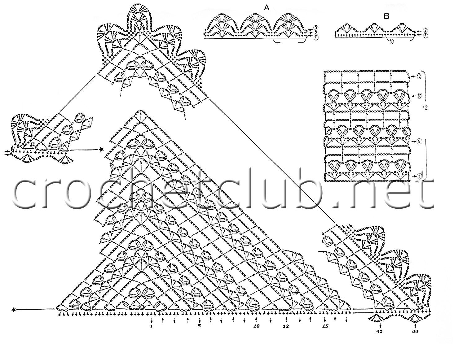 схемы вязания платков с ажурной каймой спицами