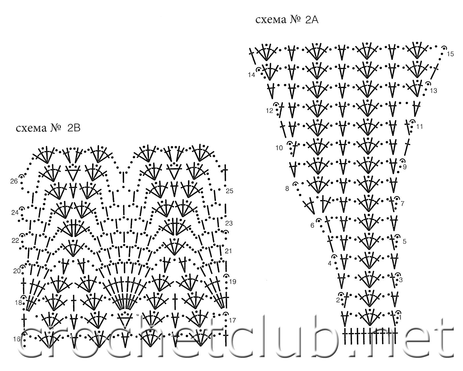 схема вязания фиалки крючком