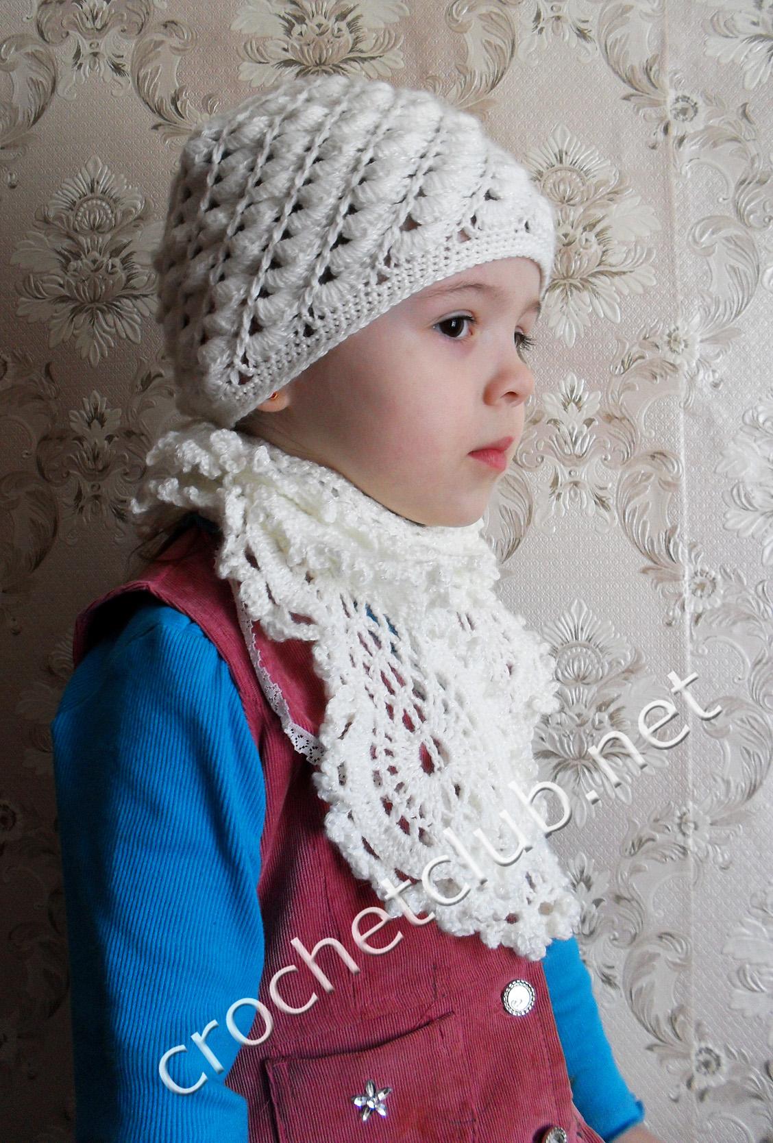 Шапка и шарф девочке вязание