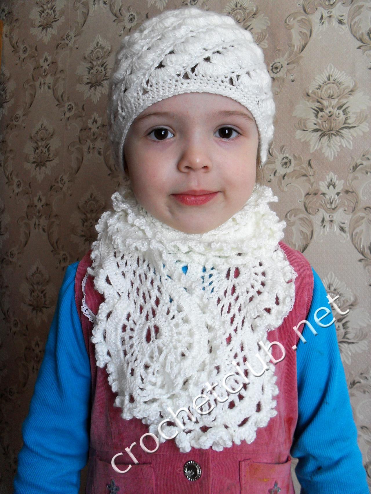 шапка для девочки 6 лет крючком схема на зиму