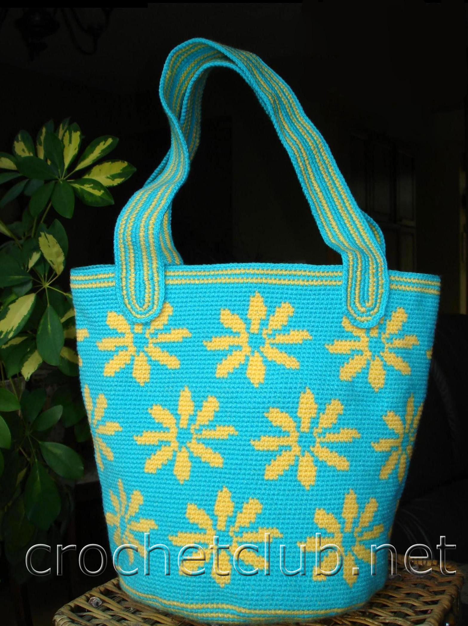 3c5c7636c3b6 Жаккардовая сумка «Ромашка» - Вязание Крючком. Блог Настика