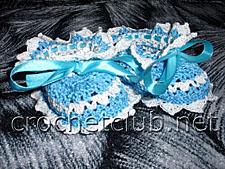 бело-голубые пинетки крючком