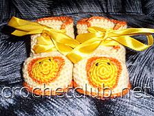 желтые пинетки крючком