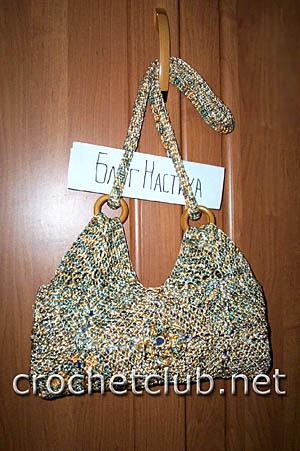 меланжевая сумочка, связанная крючком