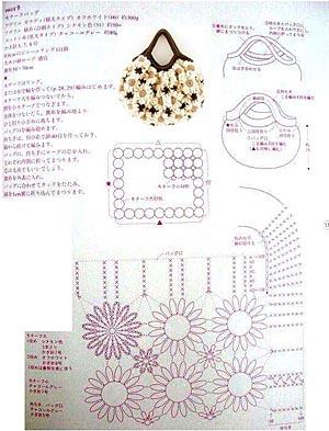 схемы сумки из ромашек