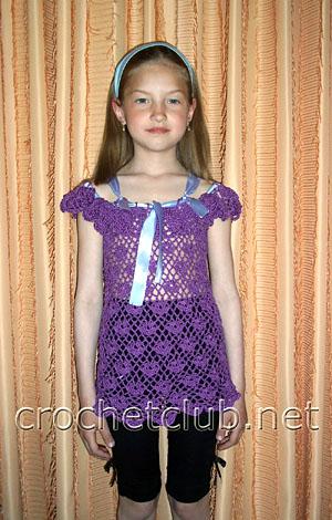 вязаная фиолетовая туника для девочки