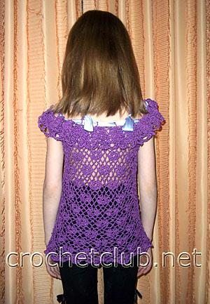 вязаная фиолетовая туника для девочки 1
