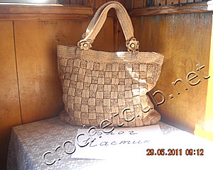 вязаная сумка плетенка 1