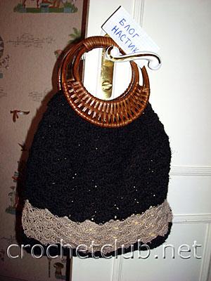 вязаная сумочка черного цвета 1