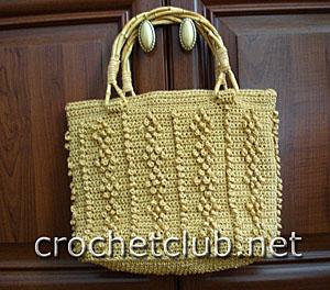 вязаная сумочка золотая