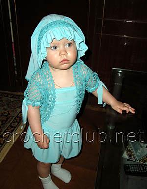 бирюзовое болеро для малышки