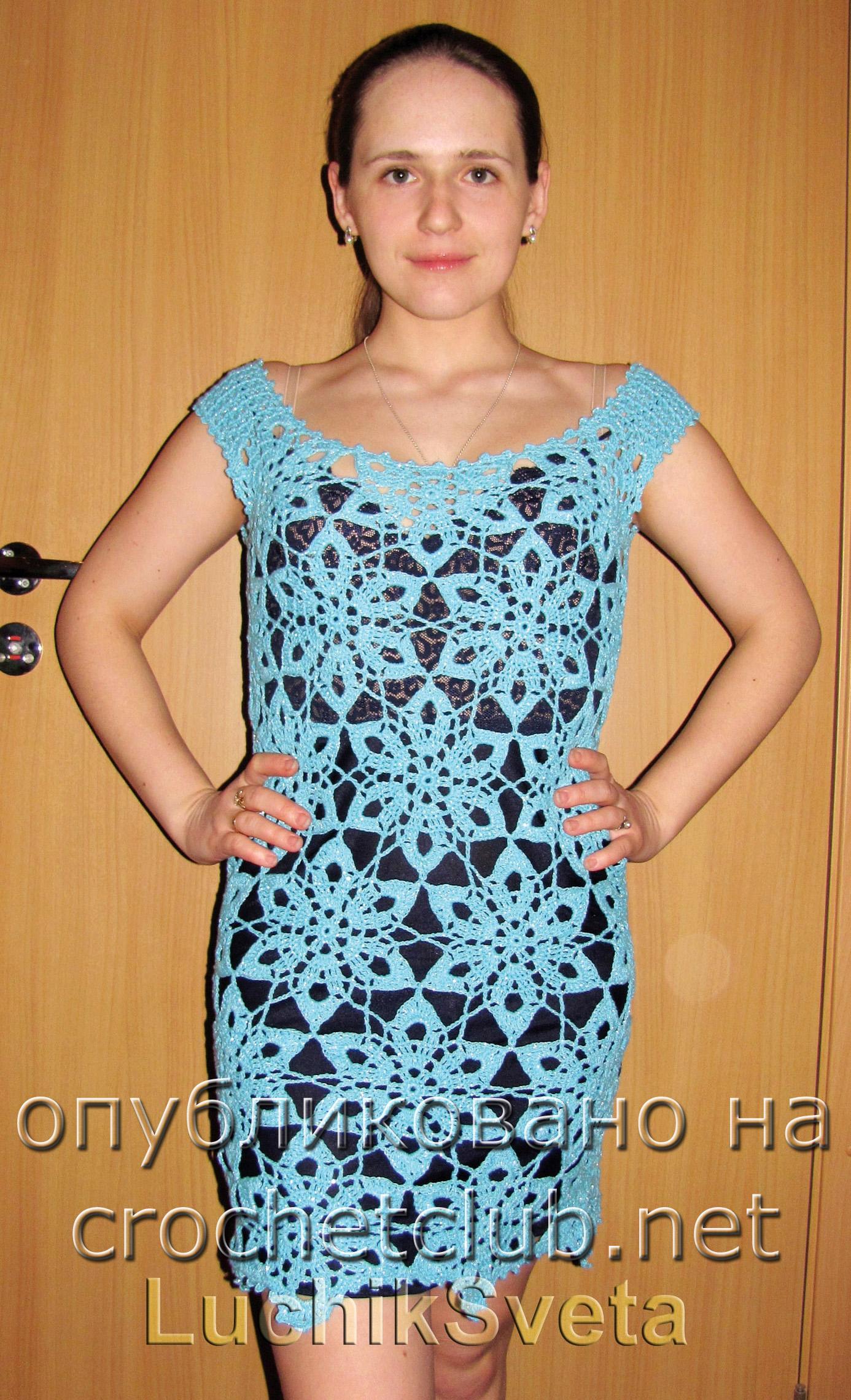 Вязание мотивов крючком платье