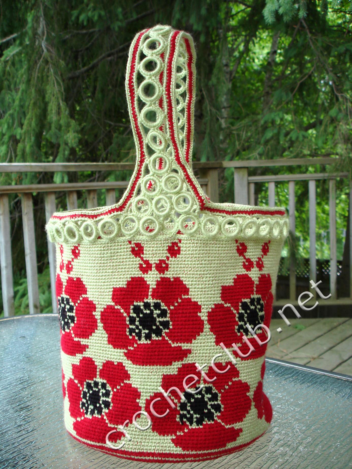 жаккардовая сумочка маки вязание крючком блог настика