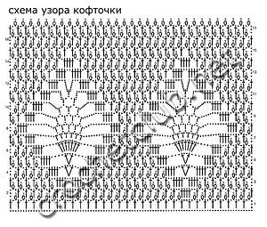 схема узора белой кофточки