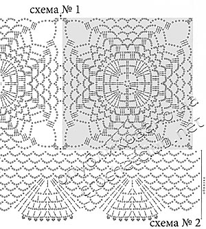 схемы туники из квадратов 1 и 2