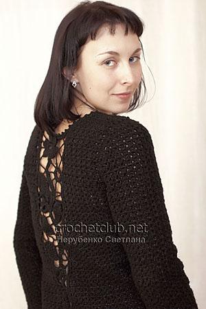 пуловер с ажурной вставкой 1