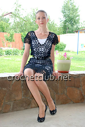 Черное вязаное крючком платье карен миллен
