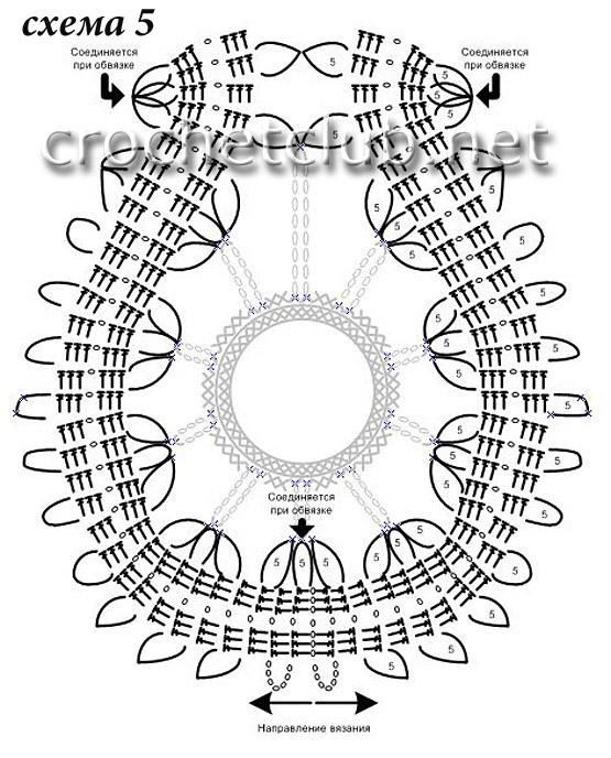 strong Заднюю центральную вставку начинаем вязать по схеме 5 в двух направлениях (см. направление вязания на схеме).