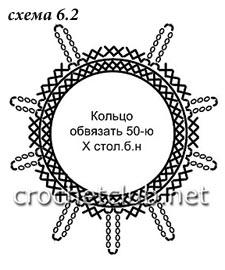 схема 6.2 девятилучевая жемчужина в нижнюю капельку