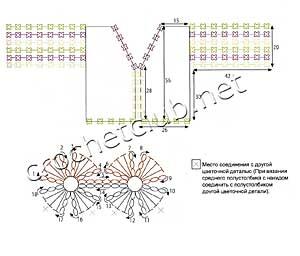 схема кофточки с ажурными рукавами