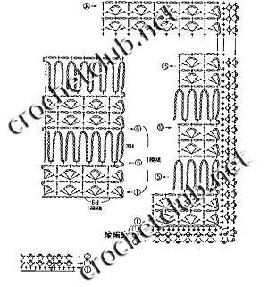 схема шарфика из секционной пряжи