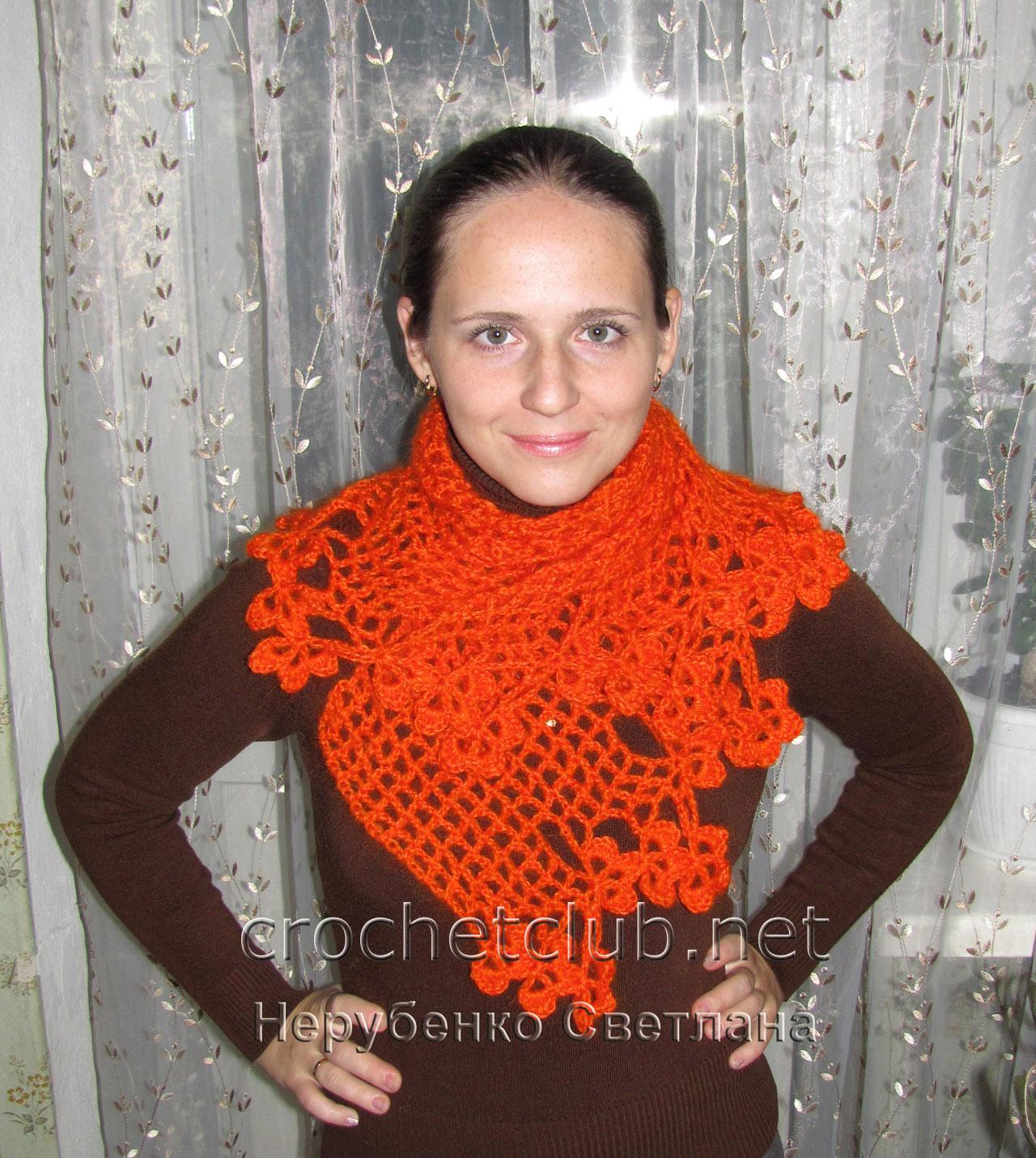 Вязание шарфа из мохера 6