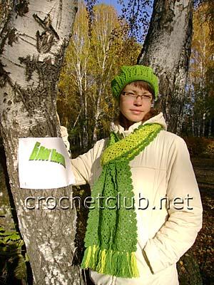 берет и шарф из квадратных мотивов 2