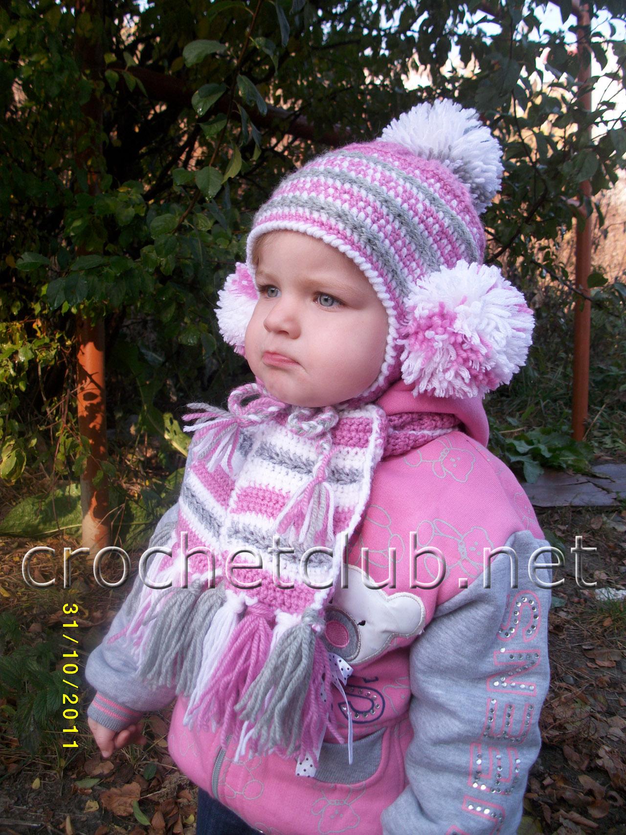 Вязание осенних шапочек для девочек 14