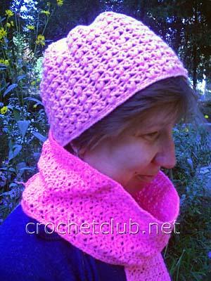 розовая шапочка и шарф 1
