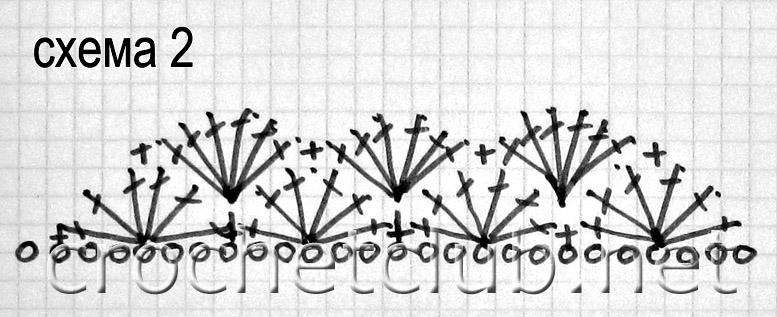 вязание крючком схема веерочка