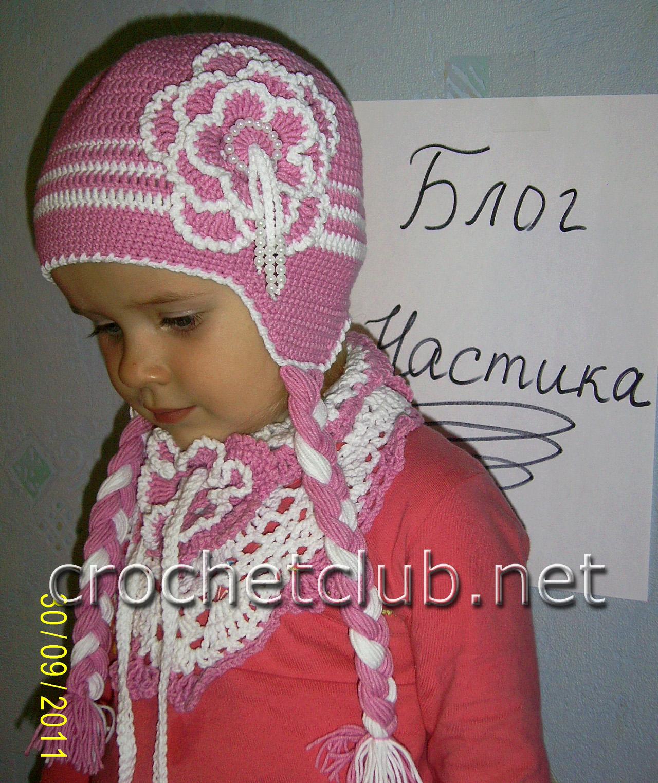 Вязание крючком осенние шапки для девочки 50