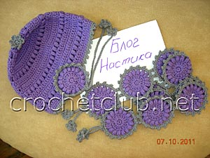 шапочка и шарфик связанный крючком из шерсти 2