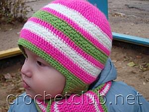 шапочка и шарф c цветочным узором 1