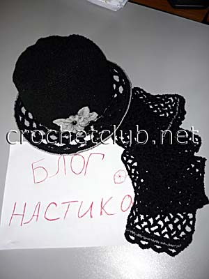 шляпка и шарф крючком 2