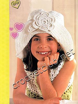 шляпа с розой крючком