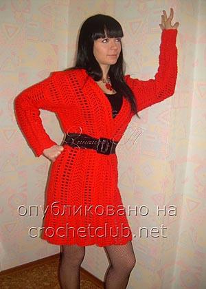 красное пальто связанное крючком
