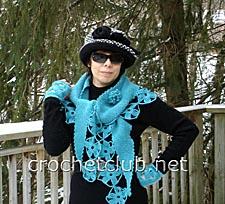 шаль голубые снежинки 1