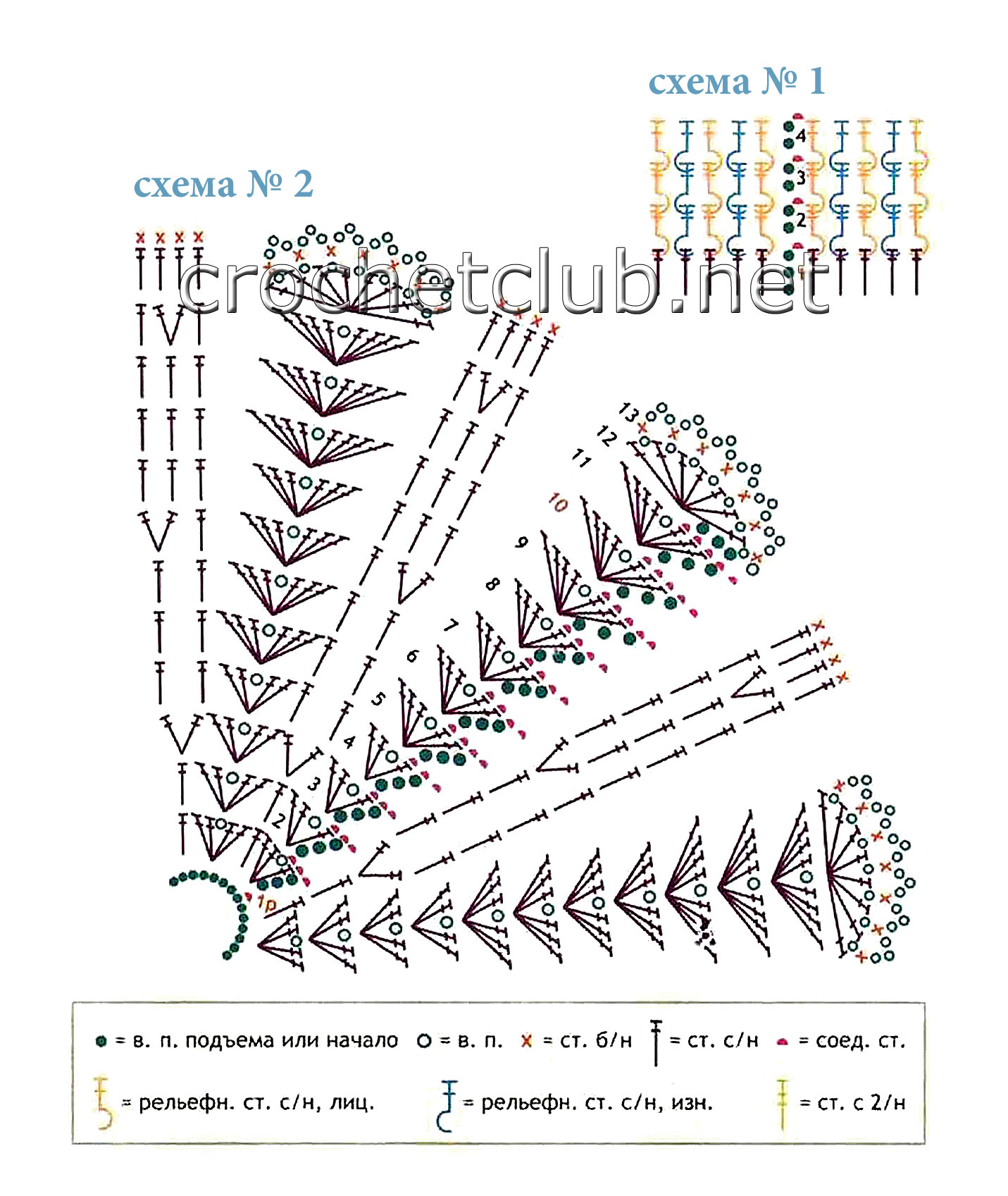 схема ажурного узора для манишки