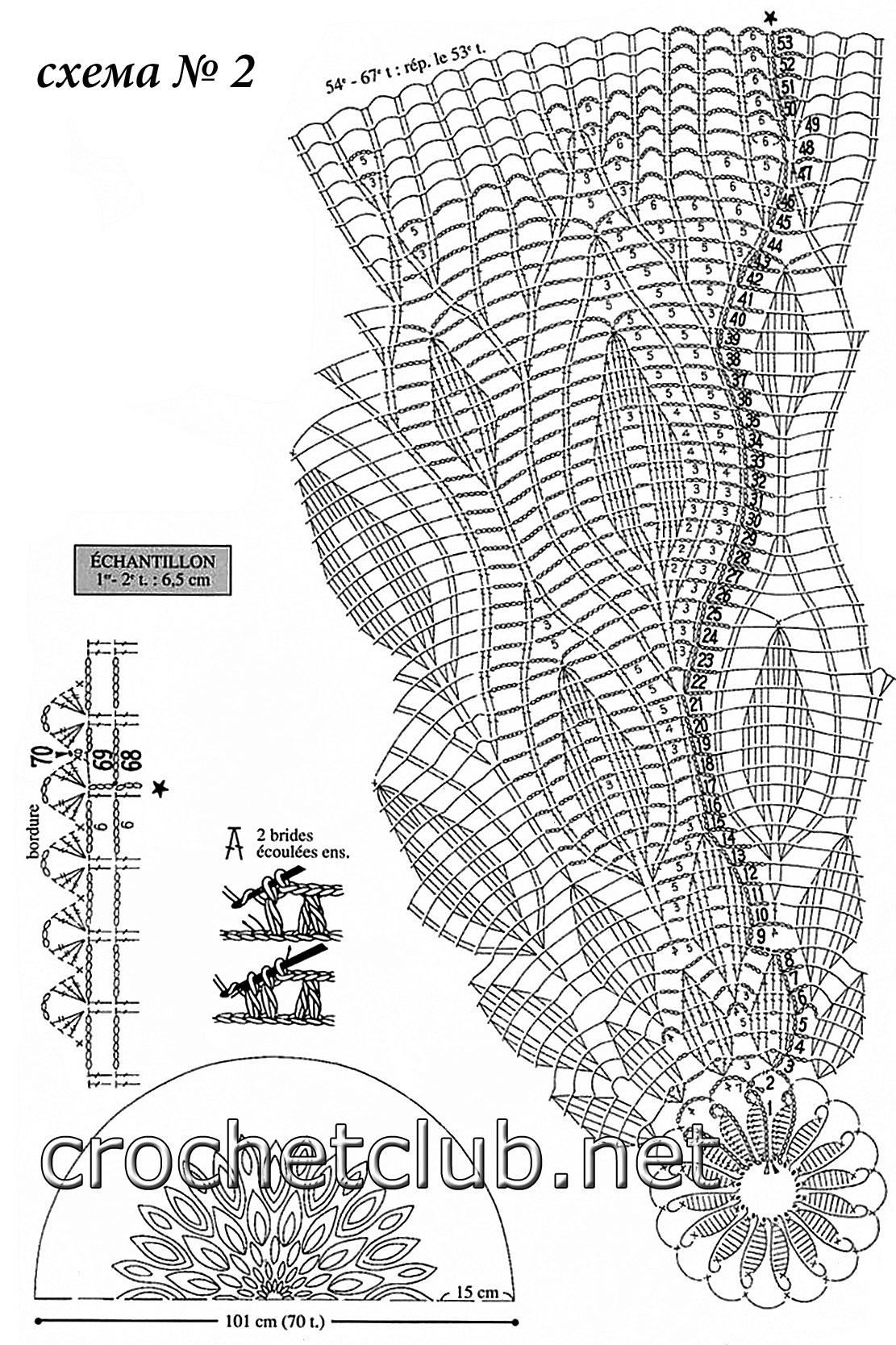 схема узора крючком для юбки