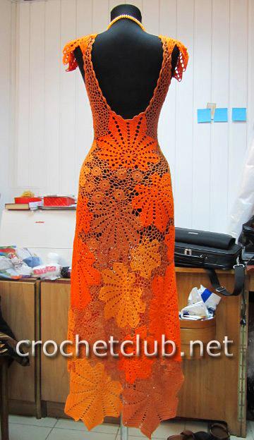 Вязание крючком платья с листьями