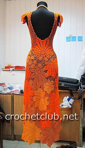 платье крючком золотой листопад 2