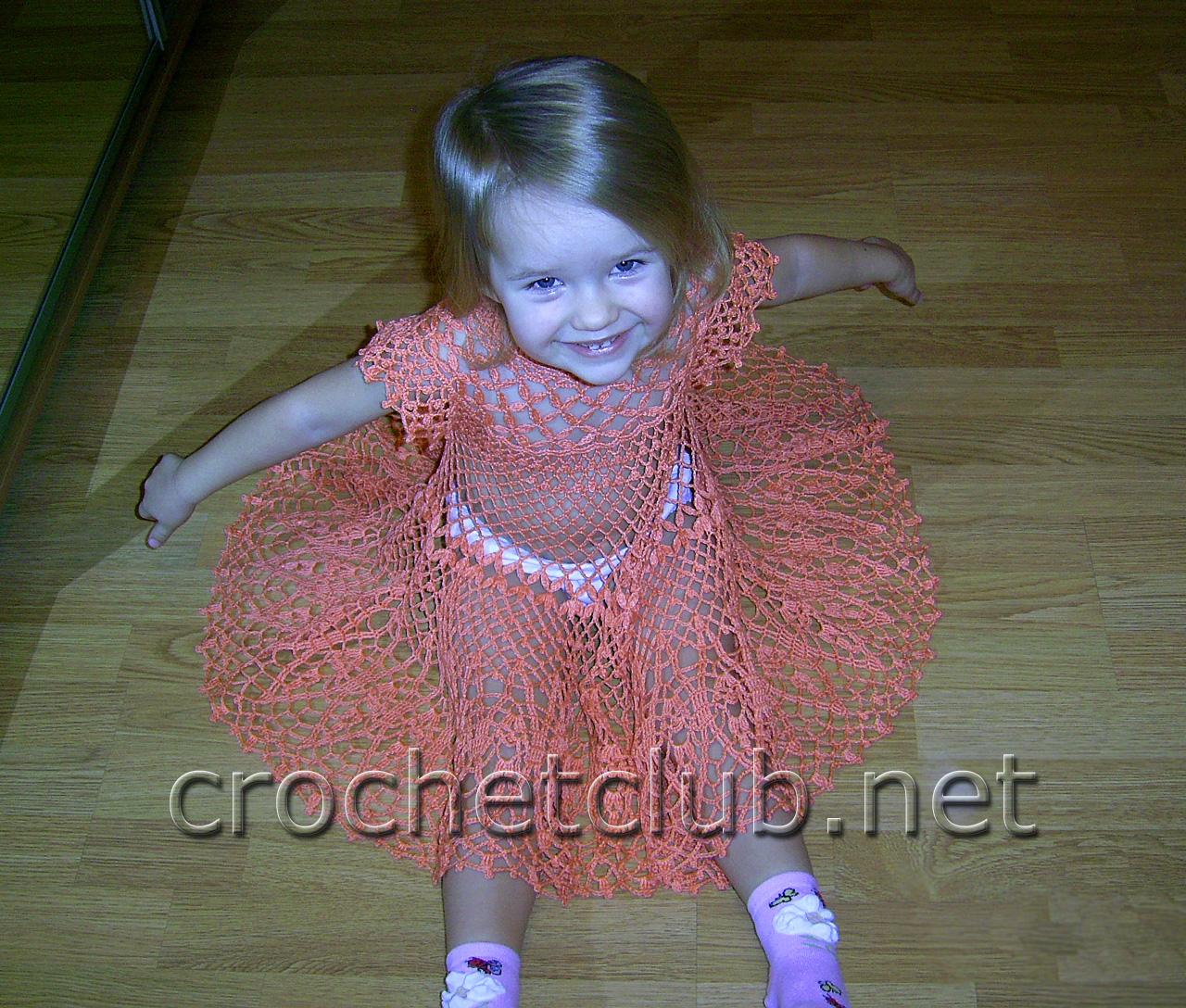 Детские платья вязаные крючком на 3года