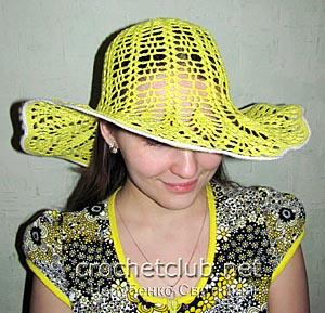 желтая шляпа крючком 1