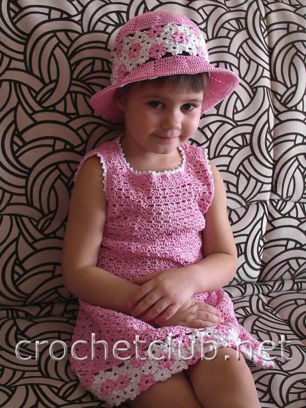 платье и шляпка для девочки вязание крючком блог настика