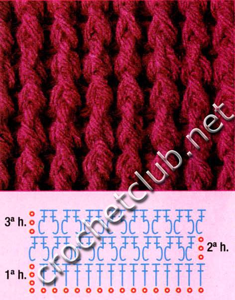 Схема резинки вязания крючком