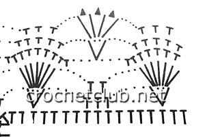 вязаные митенки нежность-схема узора