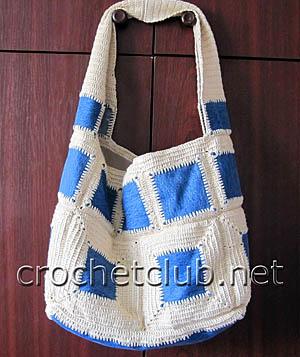 джинсы и вязание - сумка