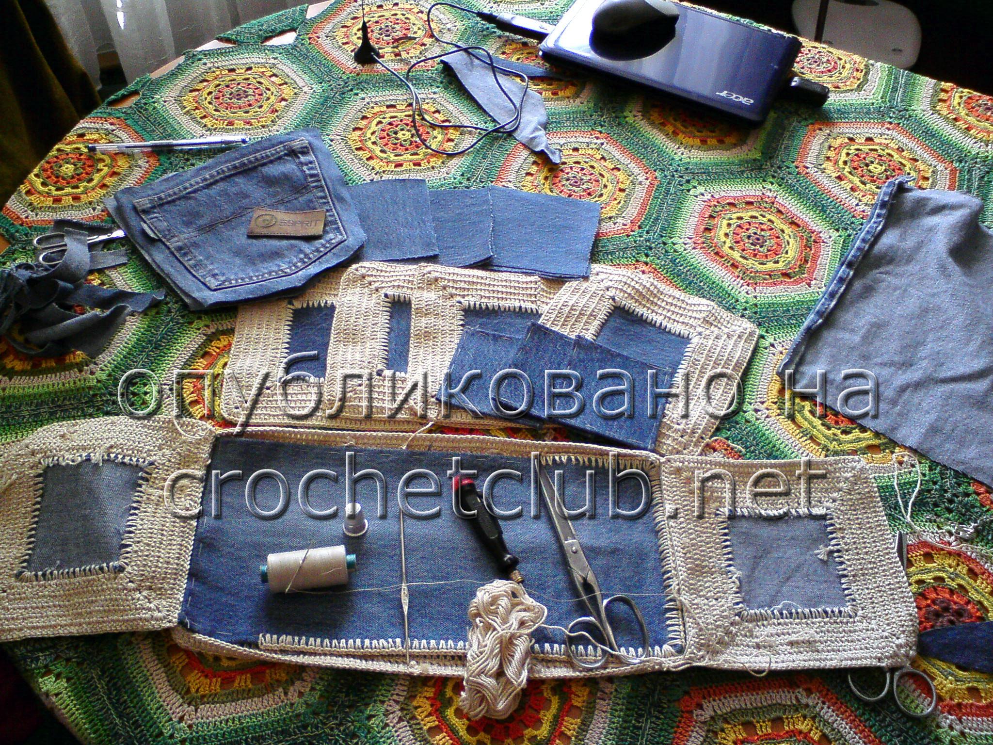 Вязание с джинсовой тканью 459
