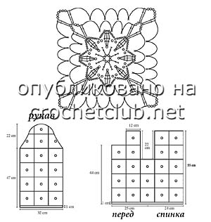 жакет из ажурных квадратов-схема