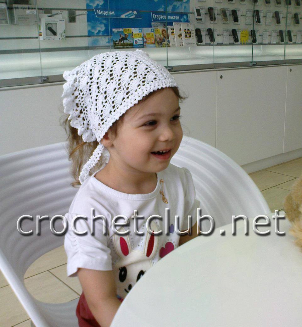схема вязания шапки косынки